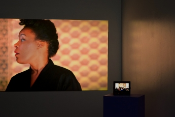 Sonia Boyce, Exquisite Cacophony (2015), single channel video with second channel captioned by the curator for Sound Etiquette. Photo courtesy of Scott Kedy.